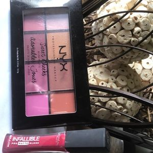 NYX Sweet Cheeks Palette and L'oreal Matte Lips